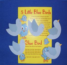 Blue Birds – (5 wood props with numbers)