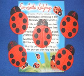 Ladybugs (5 wood props with numbers)