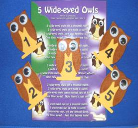 Owls (5 wood props with numbers)
